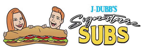 J-Dubb's Signature Subs Horizontal Logo. Fresh, Healthy Submarine Sandwiches.